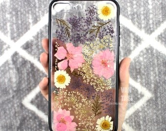 Hybrid Bumper case For iphone se case, iphone 5s , iphone 6s case, iphone 7 case, iphone 8 case, iphone x case 5 6 plus Real pressed flower
