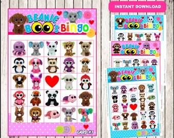 Beanie Boo Bingo game instant download, Printable Beanie Boo party game, Beanie Boo Bingo game