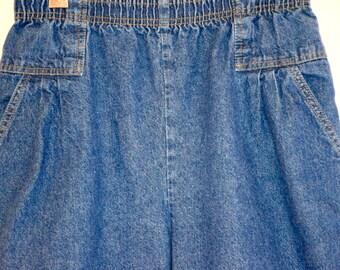 Classic Vintage High Waisted Dark Denim Elastic Waist Jean Shorts