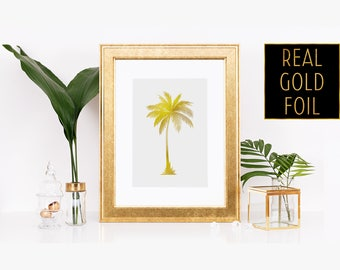 Palm Tree Wall Print - Gold Palm Tree Art - Foil Palm Tree - Cute Palm Tree Decor - Tropic Wall Art - Palm Tree Print - Palm Tree Wall Decor