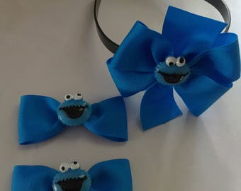 Cookie Monster headband bow Cookie Monster bows hair clips pigtails set cookie moster hair bow set Sesame Street toddler headband cookie