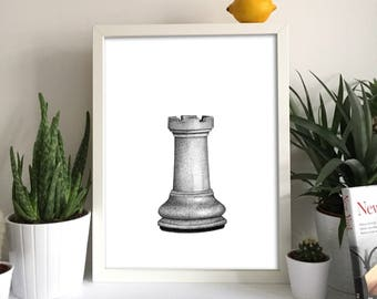 Chess Piece Castle Print Wall Art Gift Boardgames Idea Home Interior Decor Decoration Chesspiece Queen Pawn King Bishop Rook