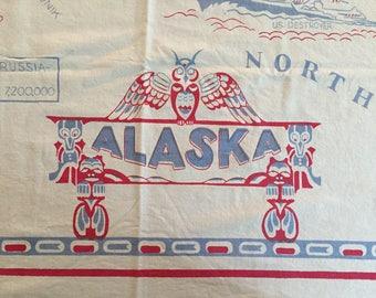 Vintage Alaska map tablecloth
