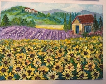 Sunflowers field,Provance.Oil on stretched canvas 12/16 inches