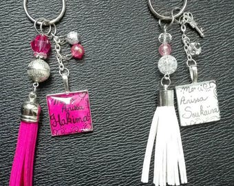 Keychain cabochon square/personalized/name/message/calligraphy/tassel suedine