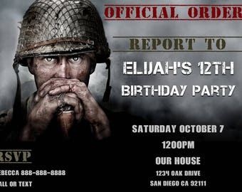 Call of Duty WWII Birthday Invitation - Personalized
