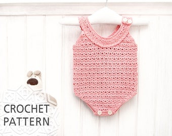 Baby Romper Crochet Pattern, For girl, Baby clothes, Newborn gift, size 0-3, 3-6 months, Cute baby onesies, Baby pants, Download PDF
