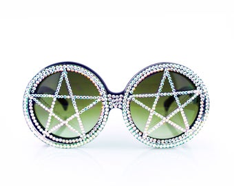 White Iridescent Hologram Swarovski Crystal Studded Pentagram Rhinestone Round Witch Sunglasses