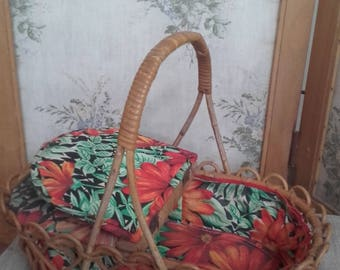 Gorgeous little VINTAGE FRENCH cane sewing basket, circa 40-50's with two hinged padded lids