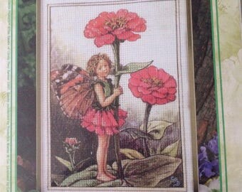 Beautiful Genuine Vintage Flower Fairies Cross Stitch of The Zinnia Fairy, Cross Stitch Kit #5509, Cicely Mary Barker, Fairy Kit