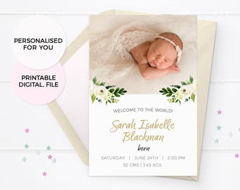 Floral Girl birth announcement card, Baby announcement cards, Birth announcement, Photo announcement, Printable Baby MIlestones Floral