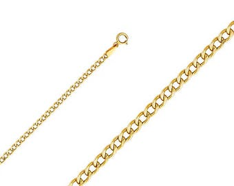 """10K Yellow Gold Hollow Cuban Necklace Chain 2.0mm 16-26"""" - Round Curb Link"""