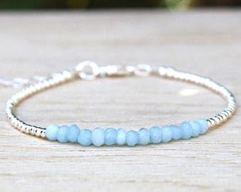 Bracelet blue mystic gemstones and sterling silver beads