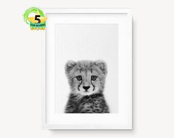 Cheetah Print Art, Cheetah Photo Print, Instant Download, Cheetah Printable Art, Animal Wall Art,Black and White Wall Decor,Baby Cheetah Art