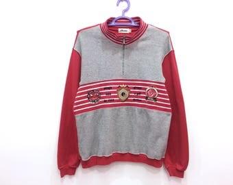 Rare!! Ellesse Perugia Italia Spellout Multicolor Embroidery Striped Half Zipper Pullover Jumper Sweatshirt