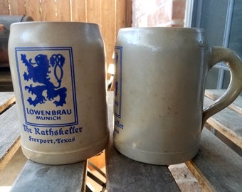 Vintage Lowenbrau Munich German Beer Stein, German Beer Steins, Lowenbrau Beer, Vintage Beer Steins, The Rathskeller Freeport Texas