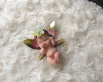 Beautiful Handmade Polymer Clay Mini Woodland Baby Fairy Girl