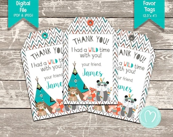 Tribal/Wild Animal First Birthday Party Personalized Thank You Cards   Party Favor Tags   Printable Thank You Cards   DIY   Digital File
