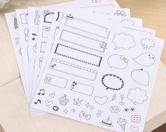 Stickers 6 sheets set in black and white
