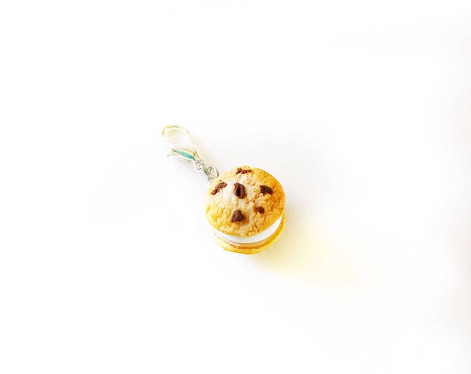 Chocolate Chip Cookie Ice Cream Sandwich Charm, Miniature Food Jewelry, Handmade Polymer Clay Charm, Progress Keeper, Bracelet Charm