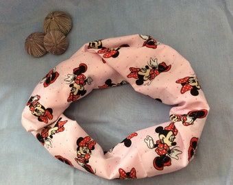 Pink Minnie Mouse Infinity Scarf, 72 in length scarf, Pink Infinity Scarf, Minnie Infinity Scarf, disney infinity scarf