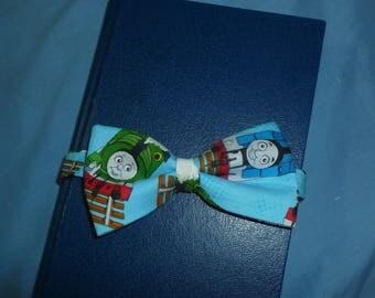"Thomas the Train 5"" pre-tied bow tie, blue bow tie, youth bow tie, train bow tie, percy bow tie, railroad tracks, Sodor bow tie"