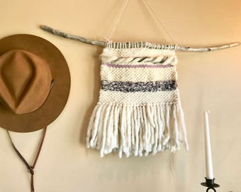 Driftwood Woven Wall Hanging Purples
