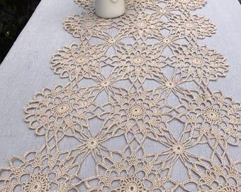 Beige/Golden Table Runner, Crochet Table Runner, Handmade