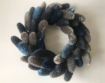 Shades of Blue Pinecone Wreath