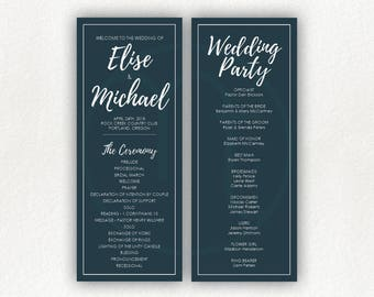 Printable, Customized Simple Blue Navy and White 2 Sided, Wedding Program, Ceremony Card, Wedding Party List, 4x10 Program, Letter Size