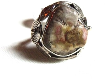 All Natural  • solid sterling SILVER • Graphic • Ring • Size 5 • Fossilized Wood • B4118