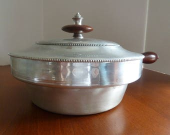 Chafing pan/Vintage Aluminum and Wood chafing pot with hobnail beaded design/Cherry wood finish/Double Boiler/Wooden handle and knobs