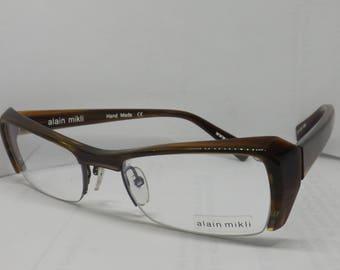 ALAIN MIKLI eyeglasses frame BROWN plastic glasses frames retro vintage eyeglasses