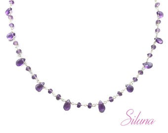 Amethyst briolettes necklace and 925 sterling silver, gemstones and Rosary chain