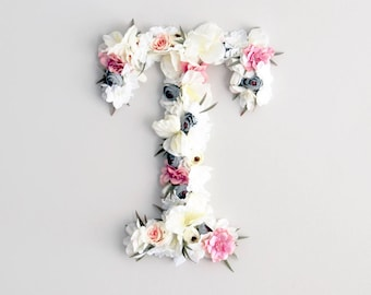 Floral letter baby girl nursery decor, wall hanging wall art, flower letter nursery.Bohemian floral Monogram letter, baby girl shower gift