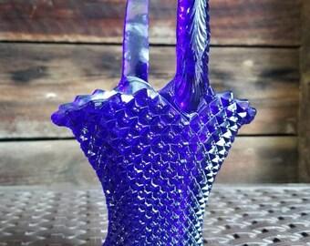 Vintage Westmoreland Glass Cobalt Blue English Hobnail Handled Basket