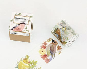 Bird Washi Tape, Gold Foil Birds Washi Roll, Animal, Masking Tape, Deco Tape