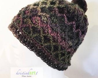 Diamond patterned hat w/pom pom / Handmade Crochet / Adult Size / Women's Gift Idea /  Multi Colored / Warm