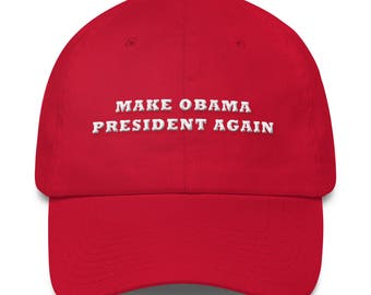 Make Obama President Again Hat MOPA Barrack Obama Red Dad Hat / Dad Cap