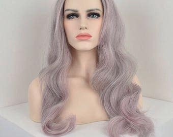Pink and Grey balayage wavy synthetic wig with hand tied Swiss lace closure - heat resistant Japanese fiber -