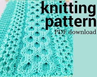 Honeycomb Cable Sampler Knitting PATTERN, Easy Knit Wall Hanging PDF Pattern, How To Knit Cables, Chart and Written Cable Knitting Pattern