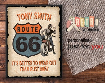 Personalised Biker Sign, Custom Metal Sign, Old Biker Gift, Motorcycle Gift, Route 66 Sign, vintage look sign, Garage Wall Decor