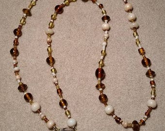 Eye Glass Holder, Brown and White Glass Beads, with Grip Clips