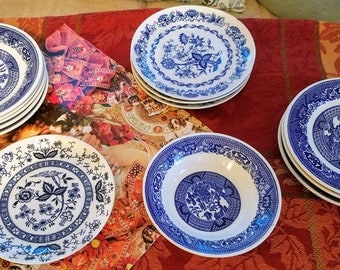 REPLACEMENTS, Blue ONION, Blue WILLOW Bread plates Saucer bowl dessert