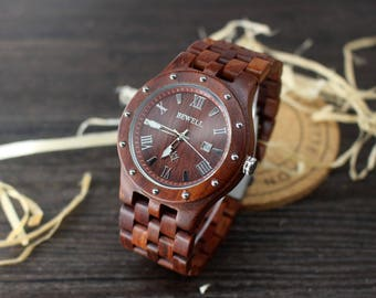 Mens Wooden Watch Engraved Wood Watch for Boyfriend Gifts for Mens Watch Husband Gift for Mens Gifts Groomsmen Gifts Wooden Watches for Men
