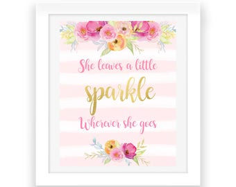 She Leaves a Little Sparkle Wherever She Goes - Printable Art - Baby Nursery Print - Baby Nursery Decor - Floral Print - Digital Download
