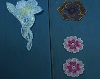 SET ~ 5 Appliques flower patches patches sewing