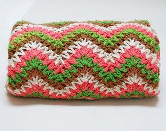 Vintage Chevron Afghan ⎮ 70s 80s Crocheted Afghan ⎮ Brown Green White Pink Blanket