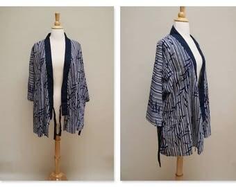 Vintage Haori Jacket ⎮ 80s Japanese Kimono Jacket ⎮ Bamboo Print Cotton Cardigan