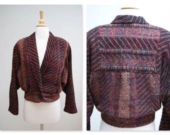 Vintage Batwing Sleeve Jacket ⎮ Vintage 90s Woven Boho Jacket ⎮ Soft Cropped Jacket